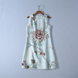 moda satış yaz toptan pist yeni sıcak Hign Sonu Mürettebat boyun Kolsuz Kasetli Nakış Boncuktan seksi Casual Elbise yazdır ins