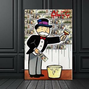 """Alec Monopoly Graffiti Artisanat Peinture à l'huile sur toile, """"Poster Bill"""" décor à la maison wall art painting, 24 * 36inch non étiré"""