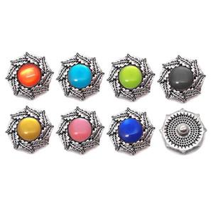Wholesale w007 Flower 3D 18mm 25mm Metal Snap Button For Bracelet Necklace Interchangeable Jewelry Women Accessorie Findings