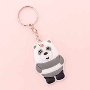 한국어 창조적 인 만화 실리콘 열쇠 고리 가와이이 여자 어린이 책가방 장식 열쇠 고리 귀여운 팬더 키 체인