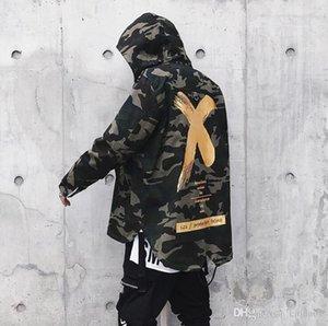 Камуфляж куртка мужчин пальто High Street Ribbon Лоскутная Хлопок Мужчины X Печать Bomber пальто осень Harajuku Pilot Flight Jacket