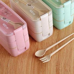 3 capas almuerzo caja de comida de almacenamiento de contenedores de microondas Bento Set Cajas para estudiantes de paja Contenedores ZZA1959