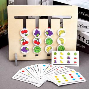Montessori brinquedos coloridos e frutas dupla face crianças de treinamento lógica do jogo motivação educacionais brinquedos para crianças brinquedo de madeira