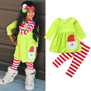 2019 NEW YEAR Christmas Kids Girl Green Santa Claus Tops Dress Stripe Pants Leggings Energetic Outfits Xmas Set Clothes 2-7T