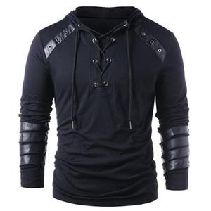 Lose Solid Color PU Panelled Menshoodies-beiläufige Männer Kleidung Bind Panelled Herren Designer Pullover Mode