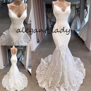Full Lace Backless Mermaid Wedding Dresses 2019 Modest Sexy Spaghetti Sweep Train Applique Trumpet Arabic beach Bridal Gowns Dress veil