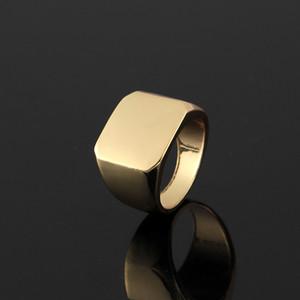 homem dedo Moda Anéis Praça Big Largura Signet Anéis Titanium jóia de aço de prata Black Gold Men Anel