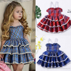 Baby Mädchen Kleid Bubble Layered Kleid Grid Backless Lace Ins Kleid Baumwolle Herbst Xmas Quaste Rock