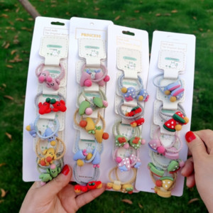 High elasticity children's Fruit band rope does not hurt the baby's hair-tied fruit rubber band hair accessories cute girl's hair rope