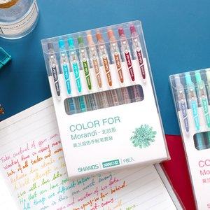 9pcs Vintage Morandi Couleur Pen Set transparent 0,5mm Stylo à encre gel stylo pour Office Marqueur Art Dessin Élève F093
