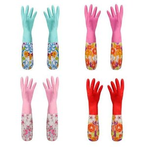 Multi-Functional Useful Kitchen Wash Dishes Long Sleeve Rubber Velvet Lining Waterproof Household Glove Cleaning Products in stock