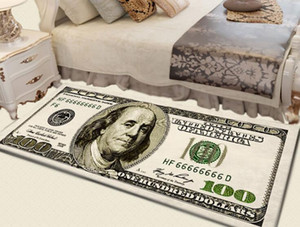 Crative Non-Slip Área Home Decor tapete moderno Carpet Runner Dollar Impresso Carpet One Hundred Dollar Bill 100 Imprimir