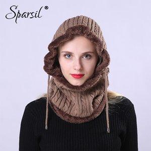 Lã Sparsil Unisex Inverno de malha gola com capuz Removeable elásticas Hat Homens Mulheres Quente Ear Grosso Neck Enrole Cap cordão Protector