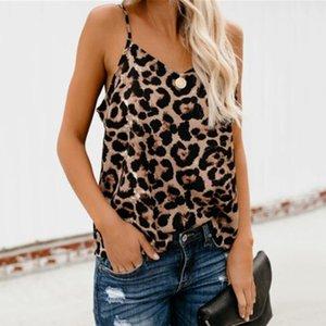 2019 estate nuove donne sexy casuale carro armato Leopard canotte senza maniche cinghia della stampa del leopardo del carro armato dei Camisoles scollo a V Clubwear del carro armato