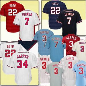 NCAA Masculino de 22 Juan Soto Jersey top 3 Harper béisbol jerseys baratos insignias del bordado de Jersey envío