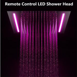 럭셔리 16 색상 변경 Led 빛 샤워 헤드 500 * 360mm 임베디드 천장 빅 레인 샤워 원격 제어 LED 레인 폴 샤워기을