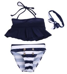 3pcs Kids Baby Girls Clothes Sets Active Cute Bikini Navy Tankini Swimsuit Swimwear Bathing Suit Swimming Kid Girl Clothes Set