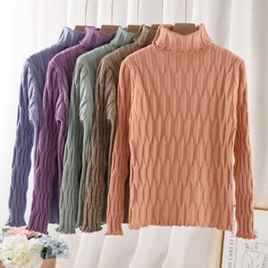 puente de invierno de manga larga de cuello alto delgado suéteres para mujer Top Oficina Pullover FMFSSOM 2019 informal suéter de punto de las mujeres caen