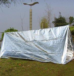 Abrigo de Emergência PET Film Tent 240 * 150 centímetros impermeável Sliver Mylar térmica Survival Shelter fácil de transportar Camping Tendas Sombra GGA3387-3
