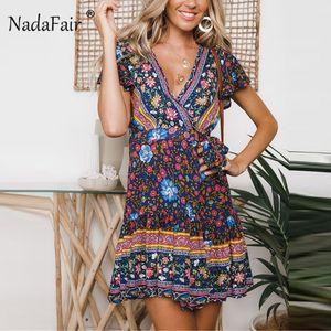 Al por mayor-Nadafair Boho de la impresión floral del vestido del verano de las mujeres de talle alto de encaje una línea de vestido de la manera 2019 cuello en V manga corta Beach Mini