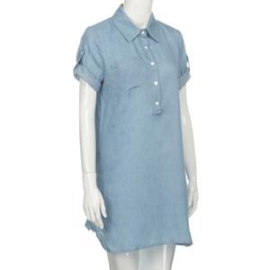 Kadınlar Elbise Gömlek Çalışma Wear Kadınlar Tatil Yaz Kısa Kollu Elbise Katı Kot Yaka A-Line Mini Dress Turn Down