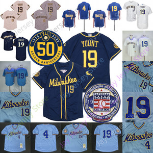 Robin Yount Jersey 4 Paul Molitor 1999 Hall Of Fame 1982 Vintage Baby Blue Pullover gessato Cream Navy Whit Tutti cucita