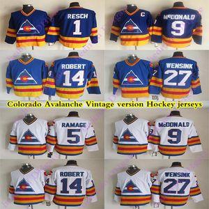 Мужская Colorado Avalanche CCM Vintage jerseys 9 MCDONALD 14 ROBERT 1 RESCH 27 WENSINK 5 RAMAGE Hockey Jersey