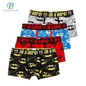 Pink Heroes 4 pz / lotto Uomini Pugili Del Fumetto Stampato In Cotone Mens Biancheria Intima Sexy Marca Comfort Mutande Boxer Shorts Q190517