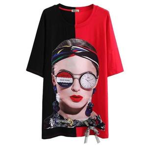 Мода смешные печатные футболки платья для женщин свободные лоскутное негабаритных длинные футболки платье уличная одежда 15 цветов топы груза падения