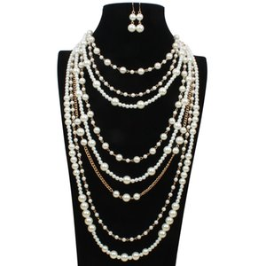 Elegant high quality man-made pearl long necklace multi-layer necklace female accessories for bride fashion Free Shipping