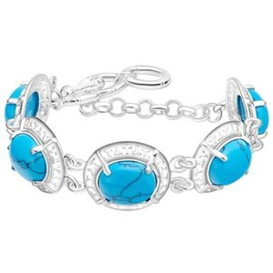 A 925 Sterling Silver Plated Jewelry New Bracelet Inlaid With Turquoise Jewelry Hot Spot Wholesale .