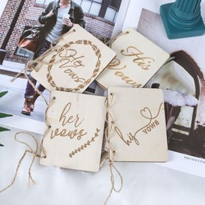 2pc Wooden Wedding Vow Books His And Her Vow Books Kraft Paper Booklet Vow Notebook For Gift Journal Engagement Wedding Supplies