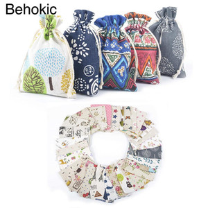 Behogar 20pcs Double Drawstring Linen Bags Pouch for DIY Craft Supplies Christmas New Years Day Wedding Party Gifts 5 x 7 inch