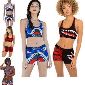 유행 여성 수영복 여름 비치웨어 I-모양의 민소매 조끼 자르기 탑 + 반바지 두 조각 의상 상어 격자 무늬 수영복 비키니 정장 인쇄하기
