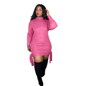 Mulheres Cor Pura Primavera Vestido de Designer de Moda Tripulação Pescoço Bodycon Vestidos Casuais Com Fino Roupas com Fita