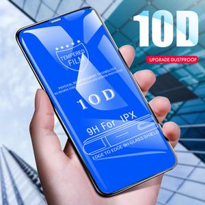 Vidrio templado para iPhone 12 11 Pro Max 10D Pantalla de pantalla completa CUBIERTA CURVA CURVA HD PROTECTOR DE TEMPORES DE 9H PARA IPONEX XR XS