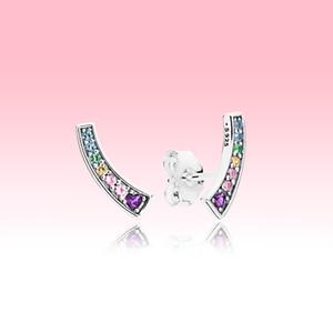 diamant coloré CZ dormeuses authentique 925 été Argent Femmes Bijoux avec la boîte originale pour Boucles d'oreilles arc-en-Pandora