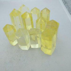 coluna citrino fundição amarelo cristal coluna de ponta única Quartz Crystal Point Coluna Estátua Decoração ornamento dos ofícios Início Arte Cura Fen