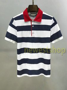 designer de verão 2020 roupas de luxo para homens Polo carta bordados impressão t casuais colarinho tee camisetas da moda Stripe impressão turn-down