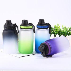 gradiente de 740ml Deportes botella de agua de plástico de una sola capa de plástico Aguas taza plástica Botella Beber Hombre Mujeres Botella recta colorido