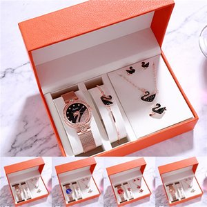 2020 New Women Fashion Watches Rhinestone Mesh Steel Band Watches Quartz Casual Wristwatches Set Watch Ladies Dress Wrist Watch Clock Acc#254