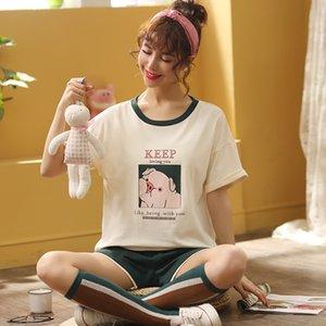 da menina Verão Nightdress de Lady Nightdress Plus Size camisola de algodão Camisola dos desenhos animados Negligee roupas soltas Imprimir Sleepshirts