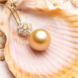 2020 Hot collana dell'oro di 18K dell'intarsio Topaz Partita 13-14mm naturale Nanyang Mar Golden Pearl pendente che di lusso collana di cerimonia nuziale del migliore regalo