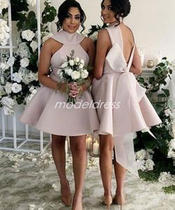 Popolare Brevi abiti da damigella d'onore 2019 Backless Mini Big Bow Raso Paese arabo giardino abiti da sposa da sposa damigella d'onore vestito a buon mercato