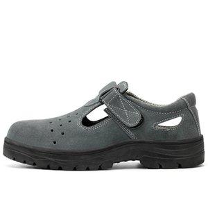 inek süet deri sitesi sandalet platformu oluşturmaya emniyet yaz ayakkabıları çalışan gündelik nefes alan beden çelik burun kapakları mens