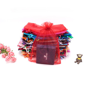 100 unids / lote Drawable Organza Bag Drawstring Pouch Wedding Birthday Christmas Gift Gift JewelryCandyToy Display Bags 17x23cm