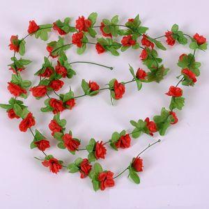 Silk Roses Green Leaves For Home Wedding Decoration Fake leaf diy Hanging Garland Artificial Flower Rattan YD0538
