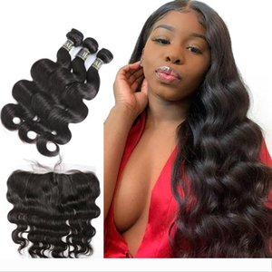 Brazilian Body Wave Lace Frontal Closure 13X4 Free Part Pre Preplucked With 3 Bundles 100% Human Virgin Hair