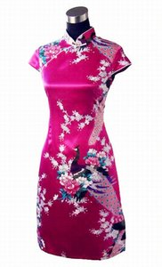 Blue Print Peacock&Flower Summer Casual Dress Chinese Women Faux Silk Qipao Cheongsam Sexy Short Mini Dress S M L XL XXL