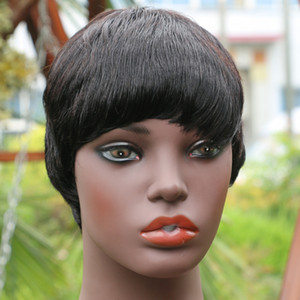 Straight Pixie Cut Bob Wig Machine Made Peruvian Remy Human Hair Glueless Short Wigs With Bangs For Black Women Top Non Lace Wig